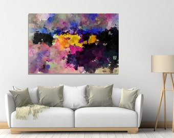 Abstract Art Print, Giclee Print of Abstract Painting, Violet Abstract Wall Art, Yellow Wall Decor, Contemporary Art, Moody and Scenery Art