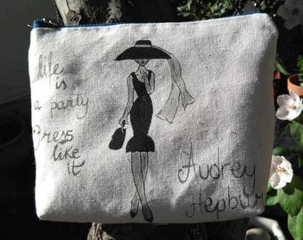 Hand-painted fabric bag. REVERSIBLE bag. Tote bag. Audrey Hepburn bag.