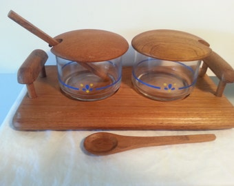 Teak Condiment Set