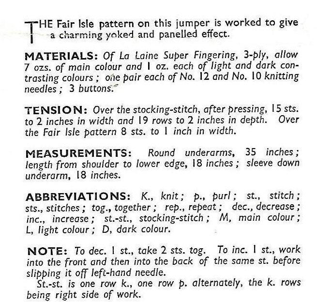 1940's Bestway 903 Women's Fitted Fair Isle Yoke & Panels Sweater ...