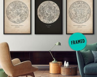 Framed art, Constellations set, Star map, Constellation print, Star chart, Astronomy print, Moon poster, Large frame, Constellation poster