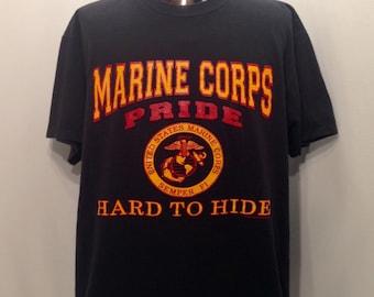 1991 MARINE Corps PRIDE Hard to Hide T Shirt / Vintage United States Marines Semper Fi Proud Marine Shirt Mens Size XL