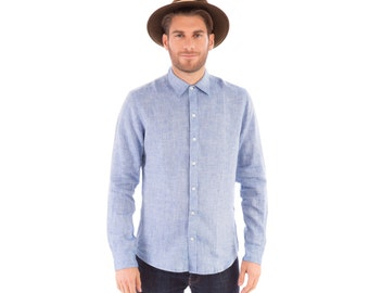 Mens Blue 100% Linen Long Sleeve Slim Fit Shirt