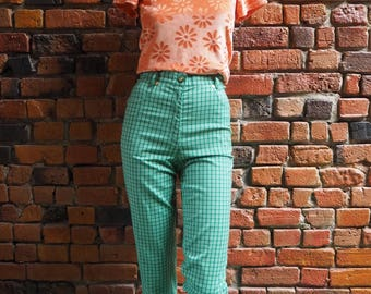Women's 90s Bright Green And White Check High Waisted Straight Leg Pants Size W28