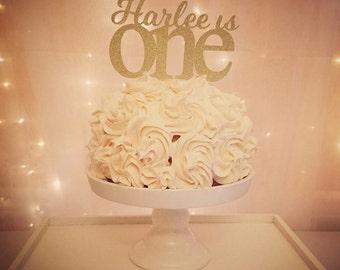 Custom Name Birthday Cake Topper,First Birthday Cake Topper,Name One Year Cake Topper,Custom Birthday Cake Topper,One Year Old, Glitter,Gold