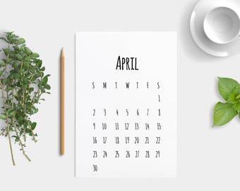 2017 Calendar, Wall Calendar, Desk Calendar, Printable Calendar, Minimal Calendar, Simple Calendar, Digital Download PDF, Instant Download