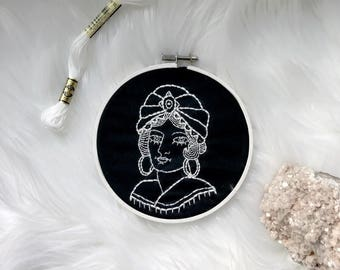Fortune Teller American Traditional Tattoo Embroidery Hoop Art