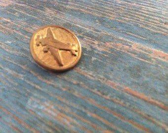 Decorative Vintage Brass Aeroplane Button