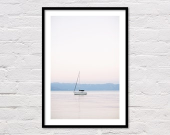 Boat Print, Lake Tahoe, Sail Boat, Sailing Print, Nautical Decor, Minimalist, Lake Art, Printable Wall Art, Lake Photo, Digital Download