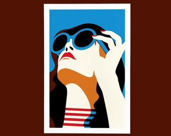 Art Print Woman, Sunshine, illustration, blue sky, summer, relaxing, stylish sunglasses. Blue, brown, red & orange. Decor, Poster.