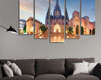 LARGE XL Panoramic View of the Cathedral of Barcelona Canvas Print Gothic City at Night Canvas Wall Art Print Home Decoration - Stretched