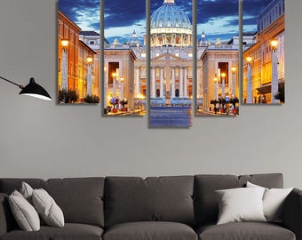 LARGE XL Basilica Papale di San Pietro, Vatican Canvas Print The Papal Basilica at Sunset Canvas Wall Art Print Home Decoration - Stretched