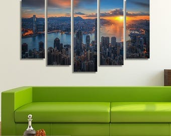 Hong Kong Art, Hong Kong Print, Sunrise Print, City Prints, Wall Décor Living Room, Home Décor, Wall Set, Extra Large Canvas