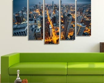 Chicago Wall Art, Chicago Wall Décor, Chicago Skyline, Chicago Print, Chicago Canvas, Chicago Art, Aerial Photography, Wall Décor, Wall Art