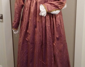 Italian Renaissance Gown, Silk Gamurra Empire Waist Dress, SCA, Renaissance Faire