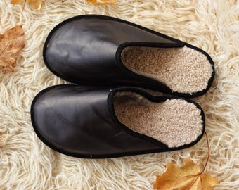 Mens Black slippers, made of real leather, sheepskin inside,antislippery sole