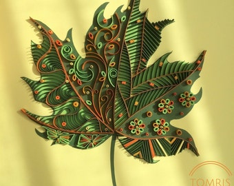 Handmade Framed Wall Art, Quilling Wall Art, Quilled Maple Leaf, Paper Leaf, Home Decor