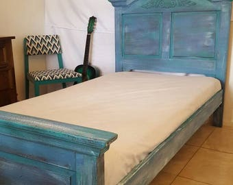 Vintage solid wood twin bed. Hand painted rescue.