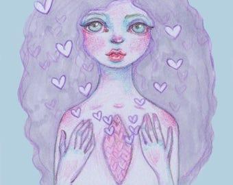 New Love Pastel Girl Print   Planner Dashboard Divider Insert