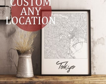 Custom Map Art. Any Location. Personalized Map. Cursive Design. City Map Art. Mounted Canvas Available