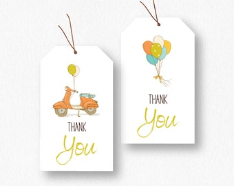 Baby Shower Birthday Thank You/Favor Tags - Scooter Balloons - Printable