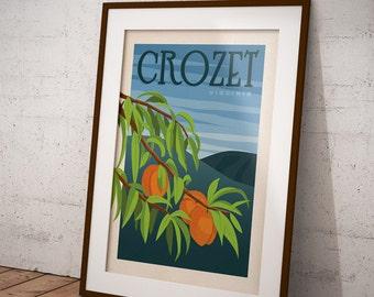 Charlottesville, Crozet, Peach Orchard, Virginia Retro Travel Poster