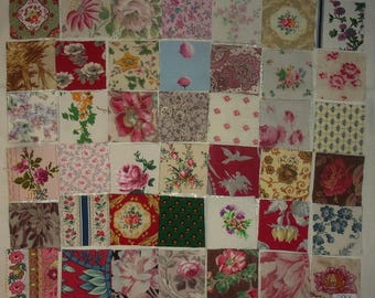 Set of 42 small coupons old fabrics for patchwork, ref 294