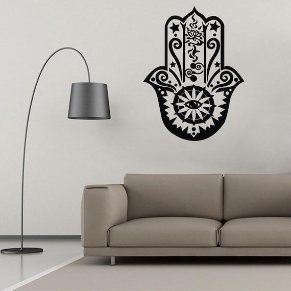 Vinyl Wall Decal - Art Home Decor Hamsa Hand Wall Decal Vinyl Fatima Yoga Vibes  Fish Eye Decals Indian Buddha Lotus Pattern Mural