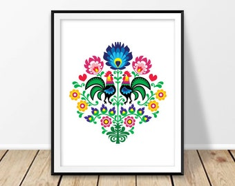Printable prints, Floral art print, Artwork poster, Floral pattern, Instant digital download, Roosters decor, Folk wall hanging, Poland