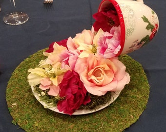 Floating Flower Tea Cup Centerpiece Alice in Wonderland Party