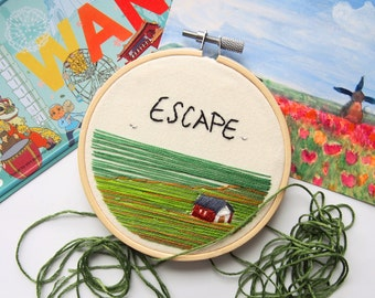 Wanderlust series - Escape - Embroidery Hoop Art -  Landscape Unique gift for yourself / family / love / friends