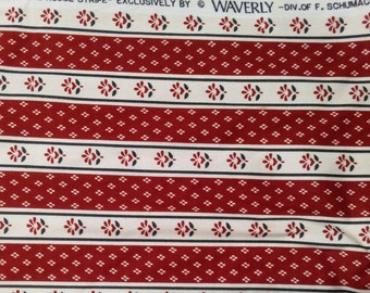 "Vintage Waverly Portfolio Prints ""Meeting House Stripe"" fabric in red"