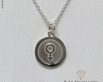 Silver Feminist Symbol Badge Pendant and Chain | Feminist Necklace | Feminist Jewelry