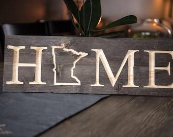Minnesota HOME Sign - Custom Engraved Barnwood