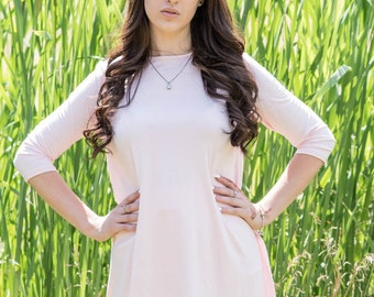 Hi Low top, Modest top,  sleeves, Pink, Modest Clothing, Casual Dress, Tznius, Modest dress, Ladies Top