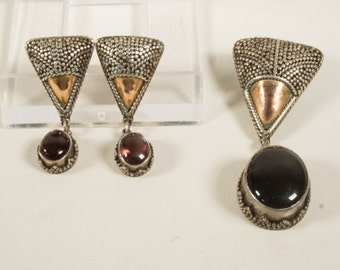 Silver jewellery set, pendant and matching earrings, 925/1000, 1960s