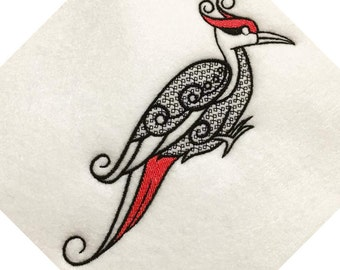 Ornamental Woodpecker - Ornament Animal Collection #28 Machine Embroidery Design - Five Sizes: 3.5 to 5.5 inch - Instant Download!