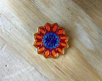 Psychedelic Flower Enamel Pin - Great Gift!