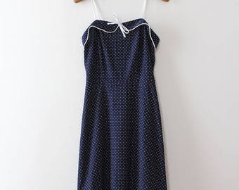 vintage 1950s style dress // 70s does 50s polka dot dress