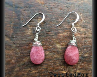 Pink Tear Drop Earrings