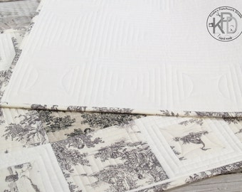 "Decorative table runner ""Mini Pastorale"" in white and gray, 100% natural fabrics,"