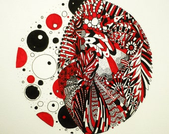Original Abstract Pen and Ink Drawing Art Big Red Circle Illustration