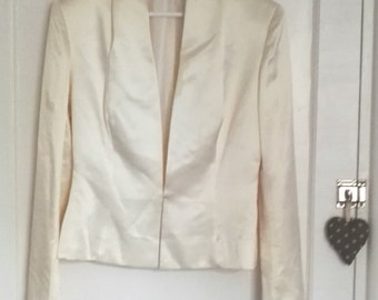 Ronald Joyce Single Breasted Jacket - Vintage Sample - Size 10 – Ivory