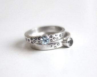 Blue Topaz Spotty Sterling Silver Ring