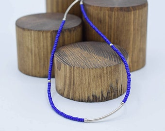 """Handmade Indigo Necklace with Silver accents 20"""" wraps into a bracelet"""