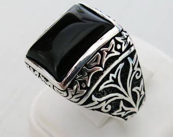 Handmade 925 Sterling Silver Natural Red Agate Stone Men's Ring #M15