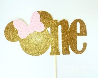 Minnie mouse cake topper, gold minnie mouse party, gold minnie mouse baby shower, one cake topper, minnie head cake topper, gold and pink