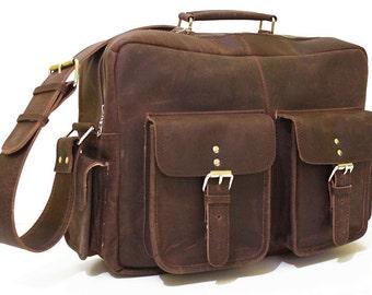 """Vintage leather Flight Bag 16"""" messenger bag mens bags unisex shoulder bag"""