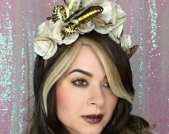 ON SALE! Vintage Paper Flower and Butterfly crown