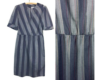 Vintage Fersten Modes, Grey Striped w/ Red and Yellow, Short Sleeved Dress. Left Shoulder Buttons. Lightweight, Summer Dress. Size 12.